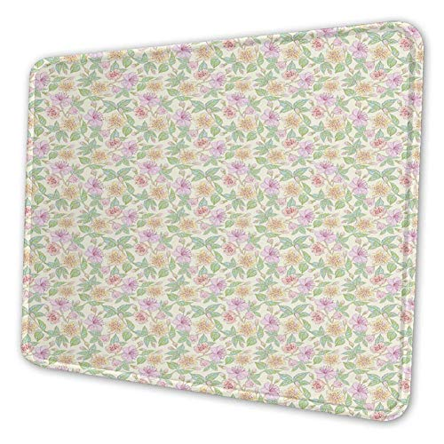 Rechthoekige Mousemat Mousepad, Kleurrijke regeling van bloemen Cottage Tuin Hand getrokken Bloem Corsage