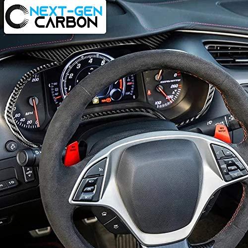 Next-Gen Speed Corvette C7 Real Carbon Speedometer Trim Cover Kit for Corvette 2014 2015 2016 2017 2018 2019 Glossy Carbon Cover Protector Carbon Stingray Z06 ZR1 Grandsport