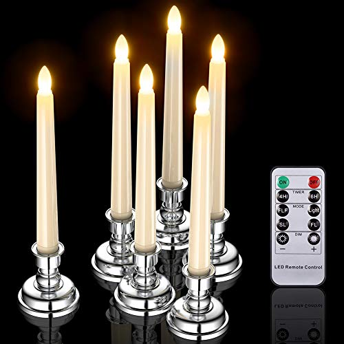 PChero 6pcs Window Candles, LED Battery Operated Tapered Ivory Candle Lights with Remote Timer and Silver Holders for Home Indoor Party Table Wedding Xmas Decorations