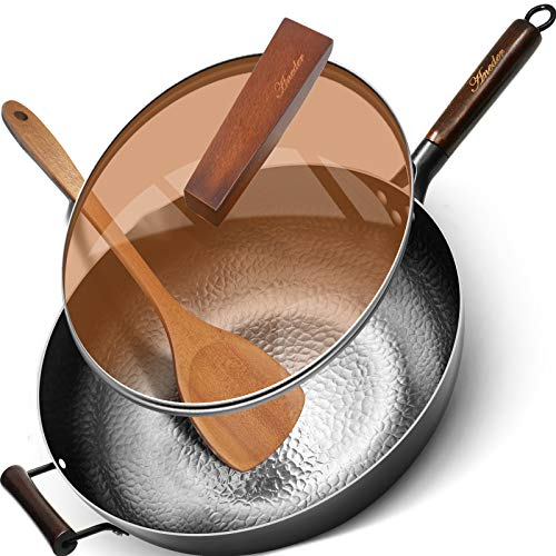 Wok Pan with Lid Cast Iron Pan 12.5 Inch,Aneder Carbon Steel Wok Iron Pot with Detachable Wooden Handle & Wood Spatula Fry Pan with 2 Handles for Electric, Induction & Gas Stoves, Oven Safe