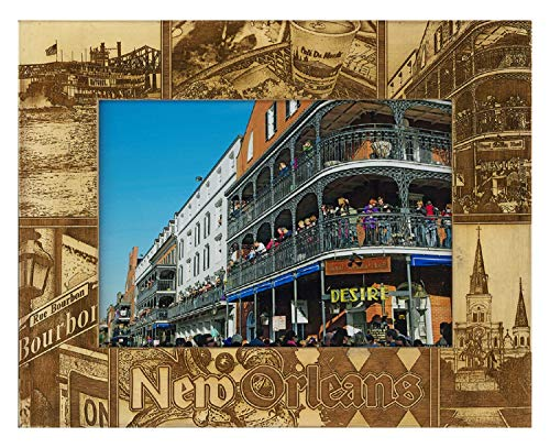 New Orleans Louisiana Laser Engraved Wood Picture Frame (5 x 7)