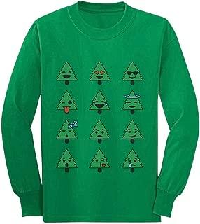 Emoji Christmas Tree Funny Faces Xmas Youth Kids Long Sleeve T-Shirt