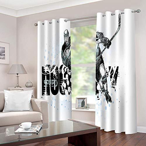 LWXBJX Cortinas Salon Aislantes Termicas Opacas con Ollaos - Jugador de Hockey Blanco y Negro - Impresión 3D Aislantes de Frío y Calor 90% Opacas Cortinas - 140 x 160 cm - Salon Cocina Habitacion Niñ