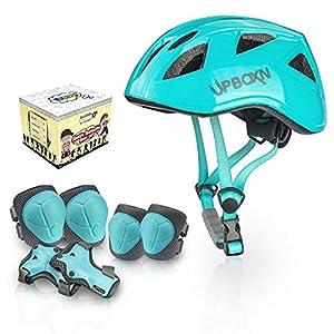 UPBOXN キッズプロテクター 子供用 ヘルメット 肘パッド 膝パッド 腕パッド 7点1セット 4色 頭/手首/ひじ/ひざサポーター スケートボード、自転車、ローラースケートなどスポーツプロテクターセット 収納袋付き (青色)
