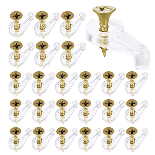 150 Piezas Clip para Espejo Abrazadera de Cristal para Baño, Soporte de Estante de Clip de Vidrio de Sujeción de Plástico con Tornillos, para Puerta de Armario Hoteles (A)