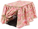 image of pretty pink patterned dog crate cover