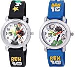 Shocknshop Analogue White Dial Black Blue Boy's and Girl's Wrist Watch Pack of 2 (Blue Red)