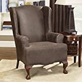 SureFit Stretch Faux Leather - Wing Chair Slipcover, Brown (SF37324)