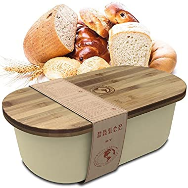 Bread Box Storage Basket | Container Bin with Bonus Bamboo Cutting Board Lid | Eco Friendly, Dishwasher Safe Breadbox for Fresh, Organized Food