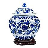 mm Jarrn de cermica Azul y Blanco clsico Tradicional Chino jarrn de cermica con Base Decorativa jarrn Azul y Blanco Porcelana florero Antiguo Centro de Mesa