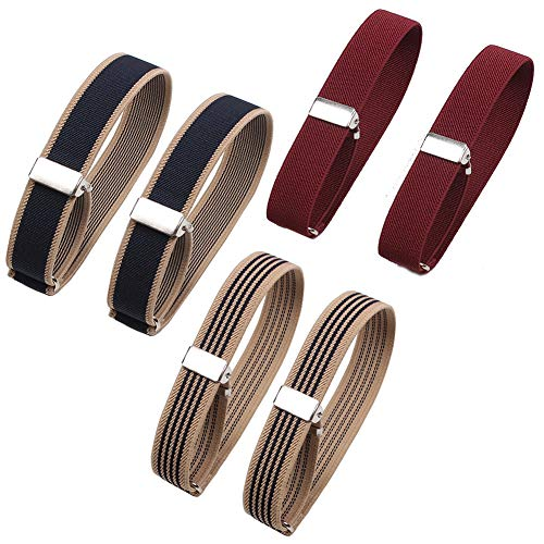 6 Pieces (3 Pairs) Elastic Adjustable Armbands Sleeve Bands Anti-Slip Shirt Sleeve Holders Hold Up Sleeve Garters Elastic Armbands (Beige with Blue Stripe, Wine-red, Blue with Beige Edge)