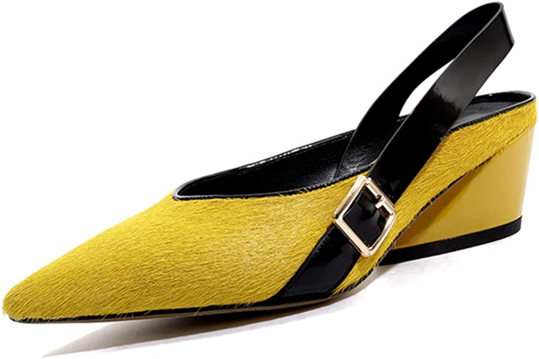 Nine Seven Suede Leather Women's Pointed Cap Toe Mid Chunky Heel Fashion Slip On Handmade Elastic Strap Comfort Women Fahion Pumps