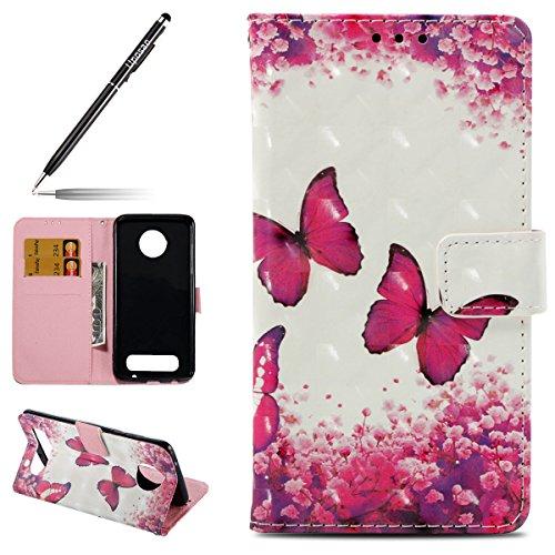 Uposao Kompatibel mit Handyhülle Motorola Moto Z2 Play Leder Tasche Glitzer Bling Handytasche Ledertasche Lederhülle Klapphülle Book Hülle Schutzhülle Flip Cover,Schmetterling Blumen