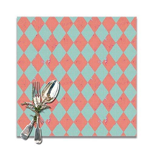 nonebrand Pfirsich und Minze Harlekin Grunge-Diamant mit rosa Flecken, rutschfest, hitzebeständig, leicht zu reinigen, 30,5 x 30,5 cm, 6 Stück