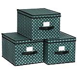 SONGMICS Set de 3 Cajas Plegables con Tapa, Cajas Plegables con Etiquetas para Navidad, Cajas de Tela con Patrón de Copos de Nieve para Armario 30 x 40 x 25 cm, Verde RFB003G02