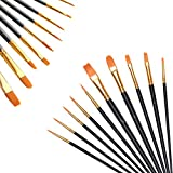QIMMU 10 Stück Premium Nylon Pinsel,Pinselset Malen,Pinsel für Acryl,Painting Brush Set...