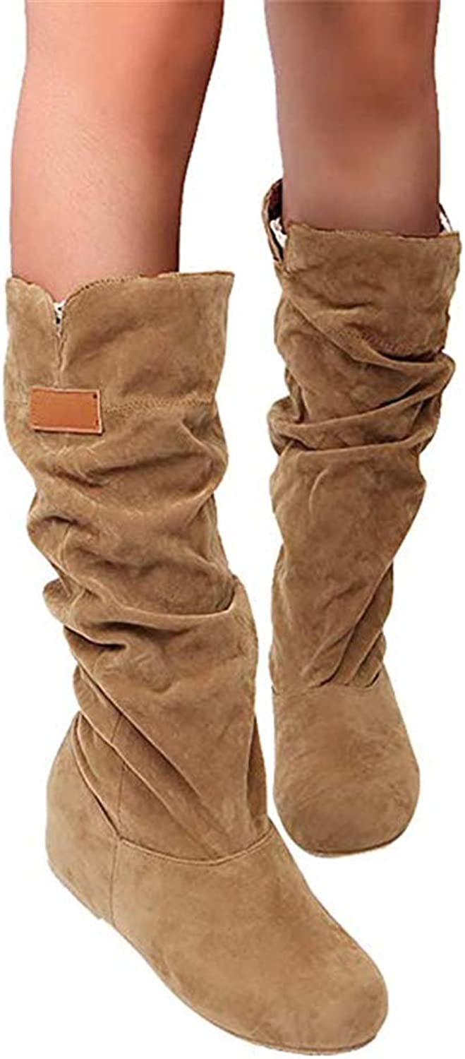CHENSF Womens Mid Calf Boots Slouch Suede Wedge Sneaker Booties Round Toe Cute shoes
