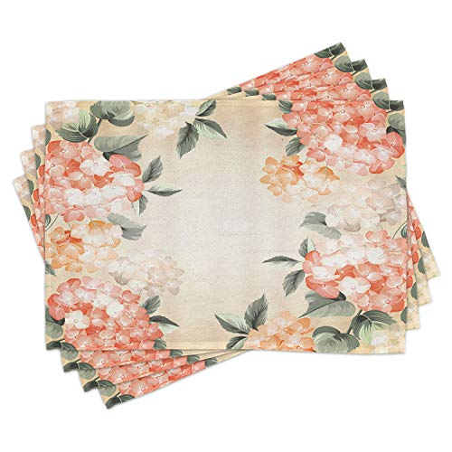 Ambesonne Floral Place Mats Set of 4, Blooming Hydrangea Flowers Leaves Bouquet Vintage Style Spring Nature Print, Washable Fabric Placemats for Dining Table, Standard Size, Salmon Green