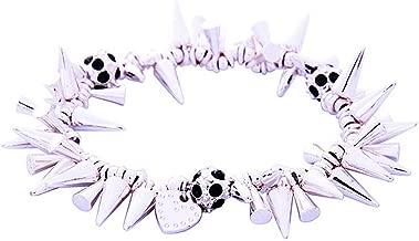 JOYID Personality Spike Studded Ladies Bracelet Heart Charm Beads Cryctal Fashion Stretch Bracelet for Women Girls
