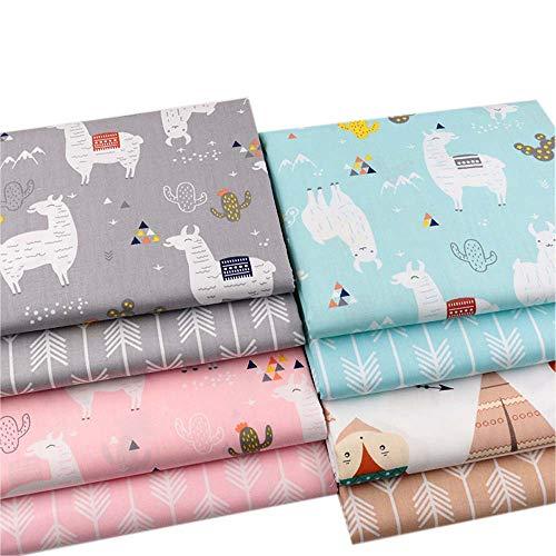 Stoffquadrate mit Alpaka-Drucke, 100% Baumwolle, Basteln, Nähen, Scrapbooking, Quilting, Kunst für Patchwork, 40 x 50 cm, 8 Stück