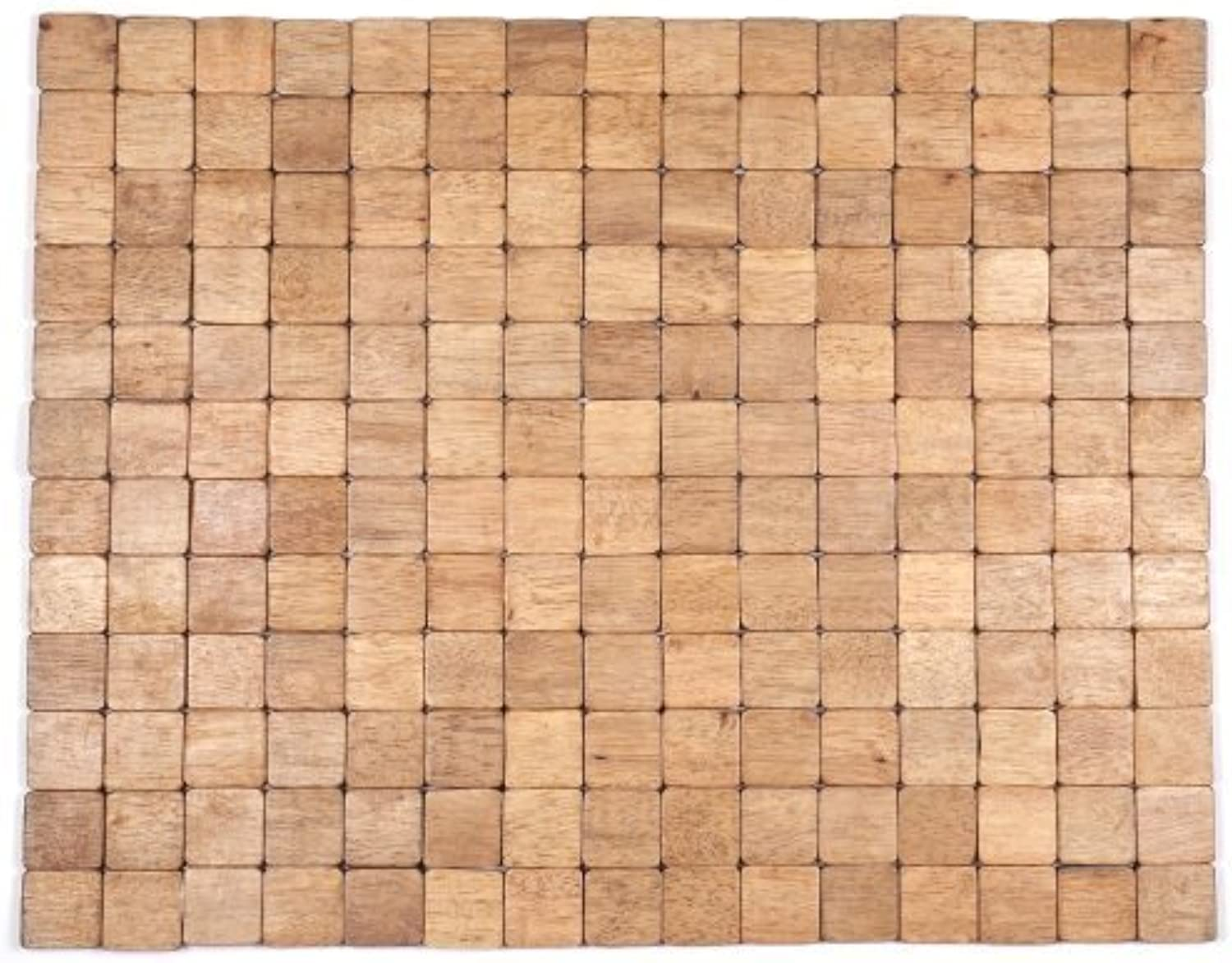 Entryways Mather Exotic Wood Mat, 18 by 30-inch, Brown by Entryways