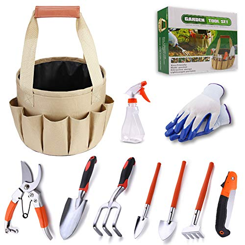 ZGoEC - Juego de herramientas de jardinería de 10 piezas con bolsa de jardín multifuncional y cabezas ergonómicas para jardinero, mujeres y hombres