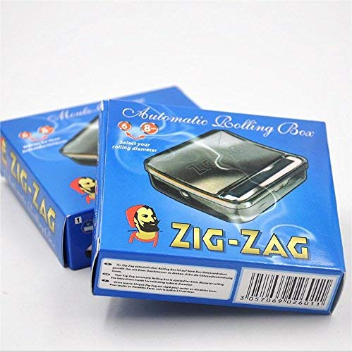 OCB Zig-ZAG Rolling Box perfekte Zigaretten Drehmaschine, Chrom, Silber, 8 x 8 x 2 cm