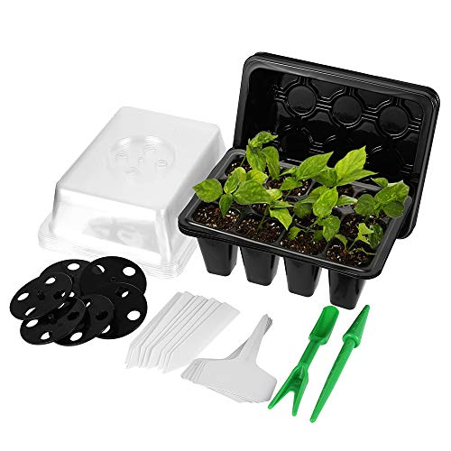 Ghopy 6 Sätze Sämlingsschalen Seedling Tray Sämlingstablett mit Löcher und Deckel,Anzuchtschalen Set mit Seed Tray Transplantationswerkzeug Gerades Etikett & T-Etikett für den Gartenbau Bonsai