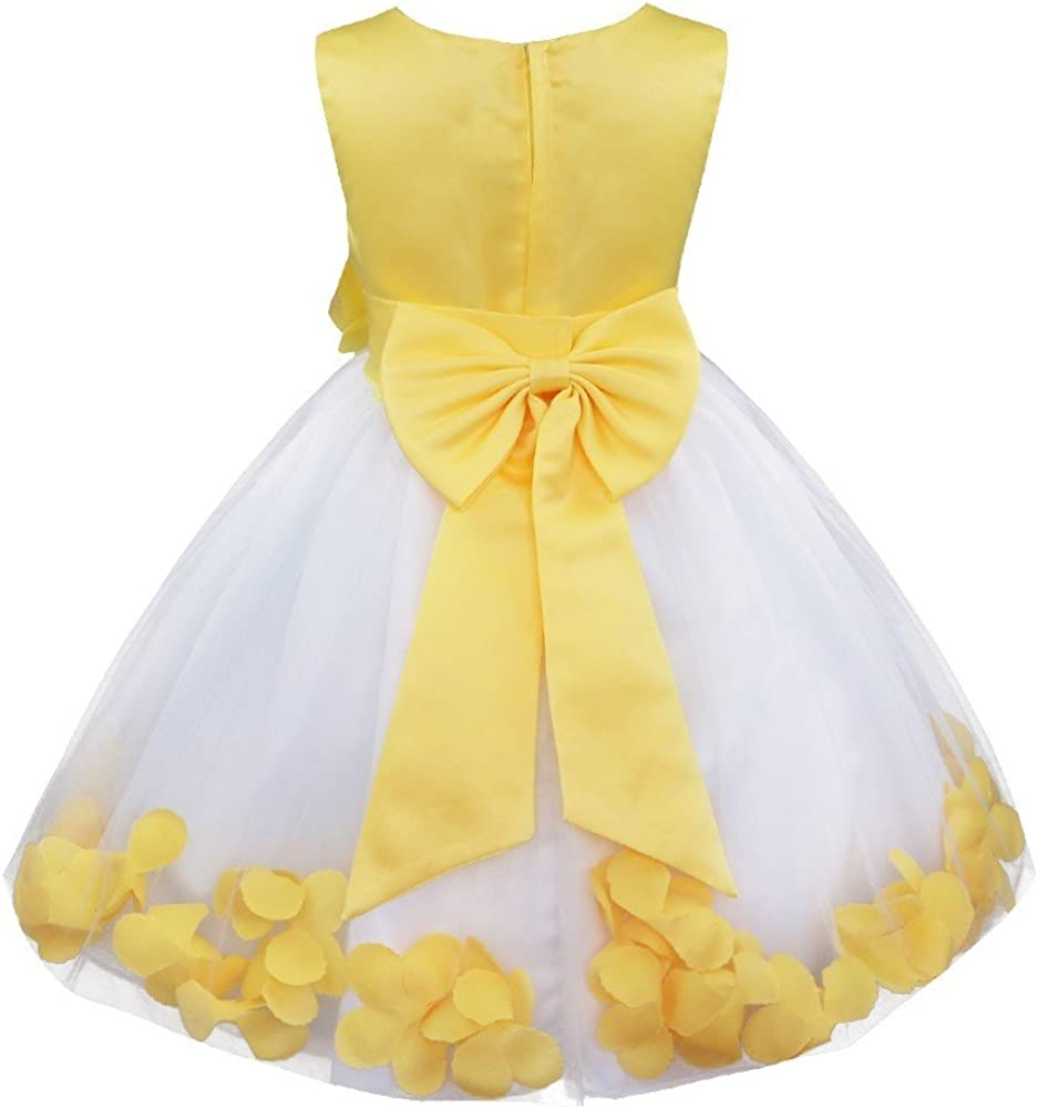 TiaoBug Baby Girls Princess Flower Petals Bow Wedding Bridal Tutu Dress Pageant Graduating Communion Formal Party Ball Gown
