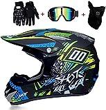 YXLM Casco da moto per bambini Motocross Cross Off-Road Omologato D.O.T Fashion Adult Cross Helmet con guanti/occhiali/maschera (S)