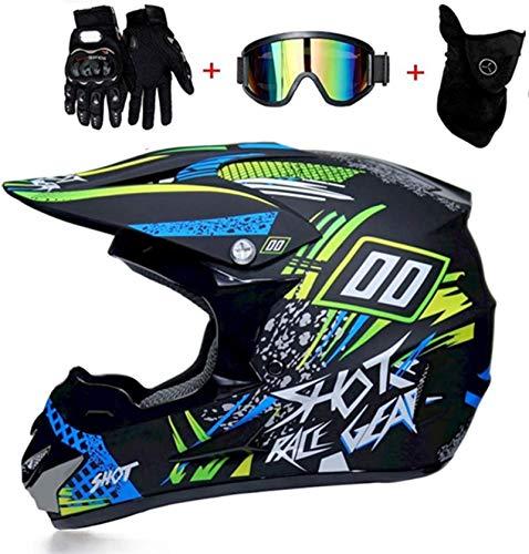 YXLM - Casco de moto infantil para motocross Cross Off-Road D.O.T, homologado para adulto, casco Cross con guantes, gafas y máscaras (M)