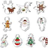 Cortador de la galleta de ShengRuHai 10 PCS cortador de la galleta de la torta moldes de la decoración Conjunto de acero inoxidable for la galleta de chocolate Ideal Cortadores muñeco de nieve for los