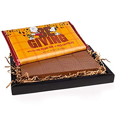 Peanuts Snoopy Thanksgiving Chocolate Gift Box | 1 LB Giant Block of Gourmet Rich Belgian Milk Chocolates Bar | Charlie Brown Gifts for Kids | Family & Friends Candy Treats Thank You Food Basket