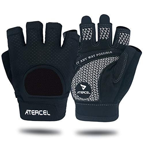 Atercel Workout Gloves 2021 Upraded Full Palm Protection, Best Exercise Gloves for Gym, Cycling, Weight Lifting, Breathable, Super Lightweight for Men...