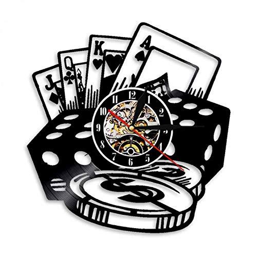 wszhh Ficha de Dados de póquer Reloj de Pared de Vinilo Inspirado en Juegos de Azar Sala de Juegos Club Bar Decoración Interior Casino Reloj de Pared Exclusivo para Jugadores-Sin LED