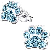 JAYARE Kinder Ohrstecker Hundepfoten Tatzen 925 Sterling Silber Glitzer Kristalle 9 mm aquamarin-blau Mädchen Ohrringe im Geschenketui