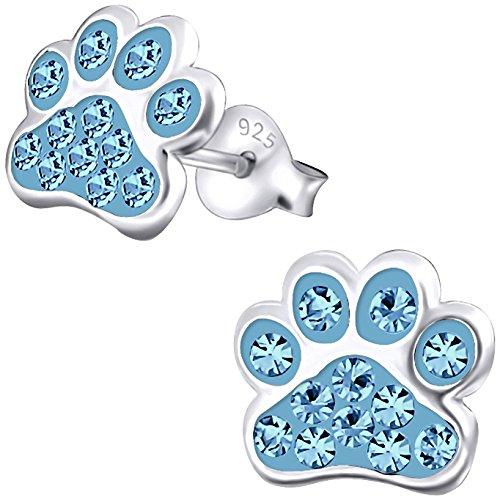 JAYARE Ohrringe Mädchen Hunde-Pfoten Tatzen 925 Sterling Silber Glitzer-Kristalle aquamarin-blau Kinder Ohrstecker