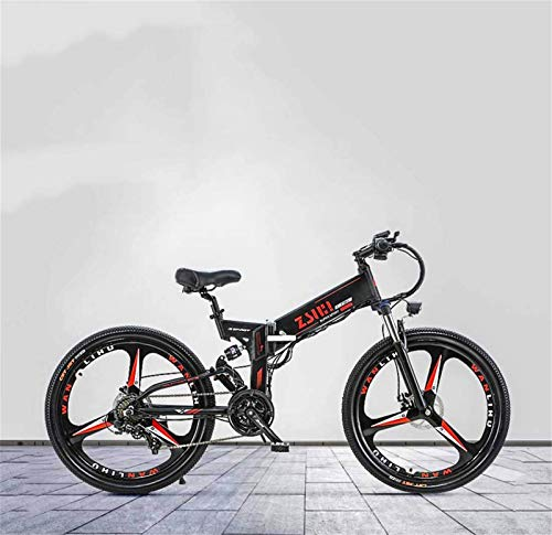Fangfang Electric Bikes, Adult Electric Mountain Bike, With 48V Lithium Battery and Oil Disc Brake, Aluminum Alloy Foldable Multi-Link Suspension, 26 Inch Magnesium Alloy Wheels,E-Bike (Color : B)