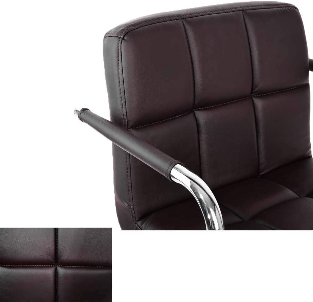 MissZZ Chaise de Bureau réglable Fauteuil de Bureau rembourré par Ordinateur Chaise de Bureau réglable et pivotante en Cuir PU pour étude de Bureau à Domicile (Noir) Brown