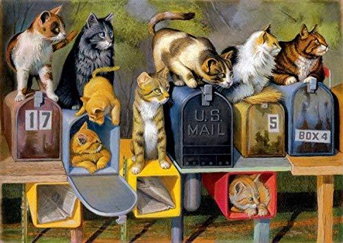 OKJK Mini Jigsaw Puzzle 1000 Stück Katzen im Briefkasten Große Katze Adult Paper Puzzle, Lernspielzeug für Kinder, Puzzlespielzeug 38x26cm