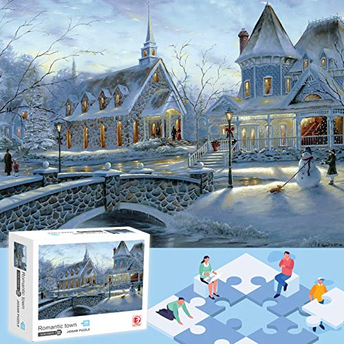 IFLOVE Christmas Snow Puzzle Holiday Snow Snowman Jigsaws Gift 1000 Pieces-Themes Puzzle Sets for Family, Brain Challenge Puzzle for Kids and Adult (Snow)