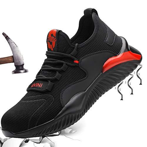 Mitudidi S3 Sicherheitsschuhe Herren Leicht Arbeitsschuhe mit Stahlkappe Schuhe Schutzschuhe Männer Leicht Sneaker Unisex Atmungsaktiv Sportlich Sportschuhe Outdoor Red 46