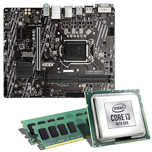 Intel Core i3-10100 / MSI H410M-A Pro Mainboard Bundle / 16GB | CSL PC Aufrüstkit | Intel Core i3-10100 4X 3600 MHz, 16GB DDR4-RAM, Intel UHD Graphics 630, GigLAN, 7.1 Sound, USB 3.1 | Aufrüstset