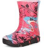 Ladeheid Botas de Agua Zapatos de Seguridad Calzado Unisex Niños Niñas SwkBW32 (Rosado Modelo-32, 29/30 EU)