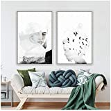 Figuras abstractas nórdicas, arte de la pared, lienzos, pinturas, blanco y negro, carteles para sala de estar Morden contratados Home Decor-50x70cmx2 sin marco
