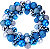Guirnalda de bolas de Navidad con purpurina, decoración de árbol de Navidad, decoración de día festivo, para colgar en la puerta delantera, color azul, plateado y azul