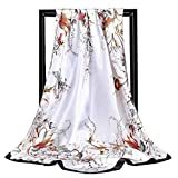 PLXX 90X90 Bufanda Cuadrada Seda Bufanda de Seda Pañuelo Impreso Manta al por Mayor Chifón Pañuelo Bufanda Mujer, 4,90-90cm