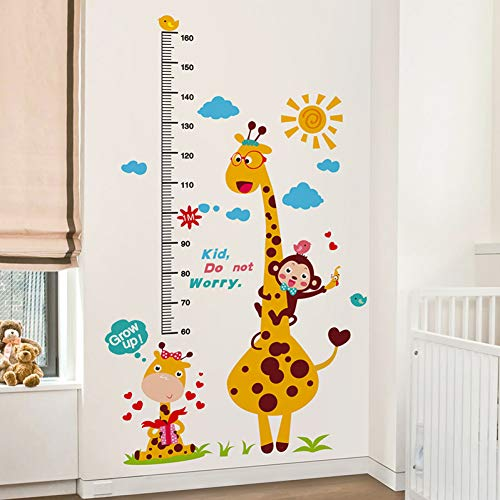 TAOYUE Cartoon Giraffe Height Measure Wall Stickers Creative DIY Wall Decals for Kids Room Bedroom Decoration