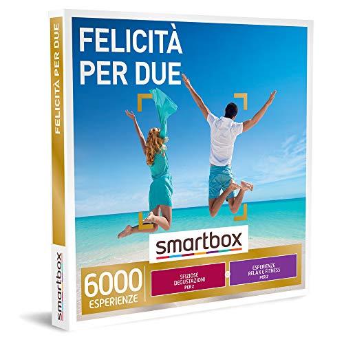 Smartbox - Felicità per Due - Cofanetto Regalo Coppia, Una Degustazione o Una Pausa Relax o Un Attività di Fitness per 2 Persone, Idee Regalo Originale