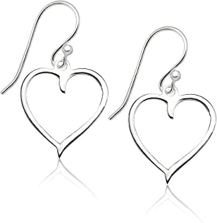 High Polished Sterling Silver Lovely Heart Drop Dangle Earrings Made from Real Solid 925 Sterling Silver in 3 Color Silver, Gold or Rose Ideal Fashion Gift for Women, Teens, Men